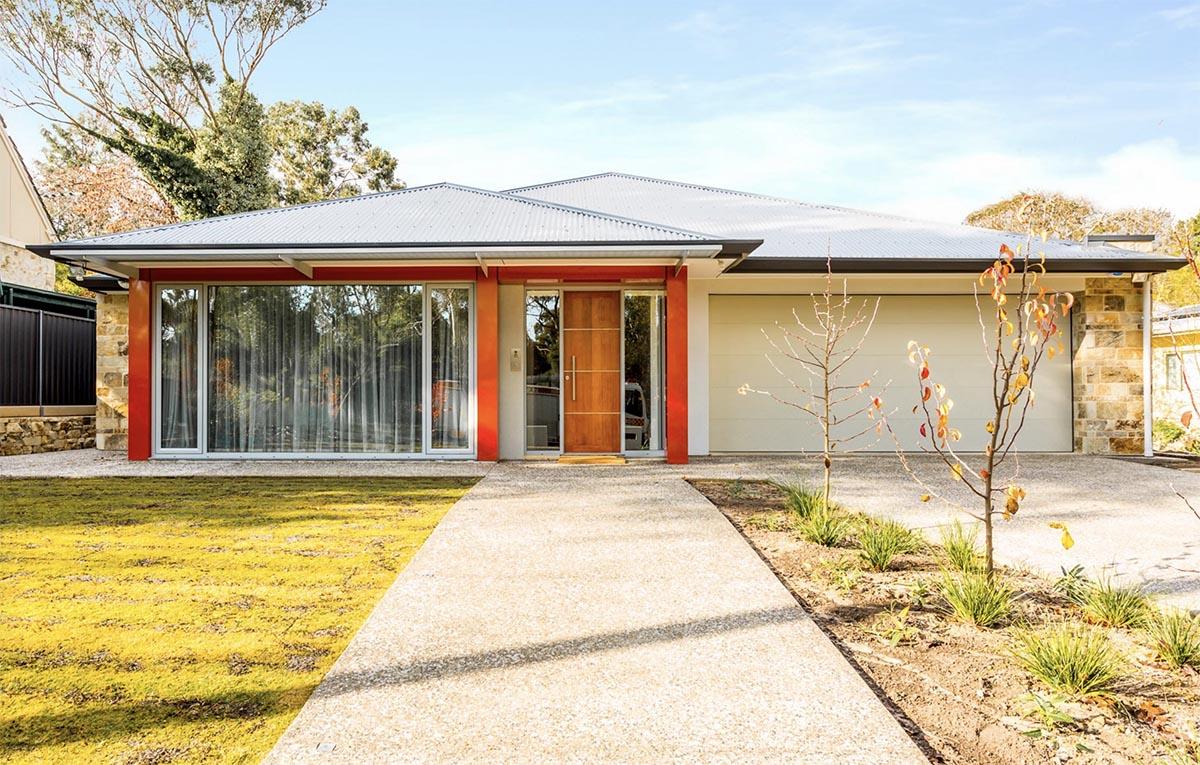Custom Home, New Home, Family Home, Design, Builder, Single Storey, Blackwood,, Adelaide Hills, Feature Front Door, Roller Door