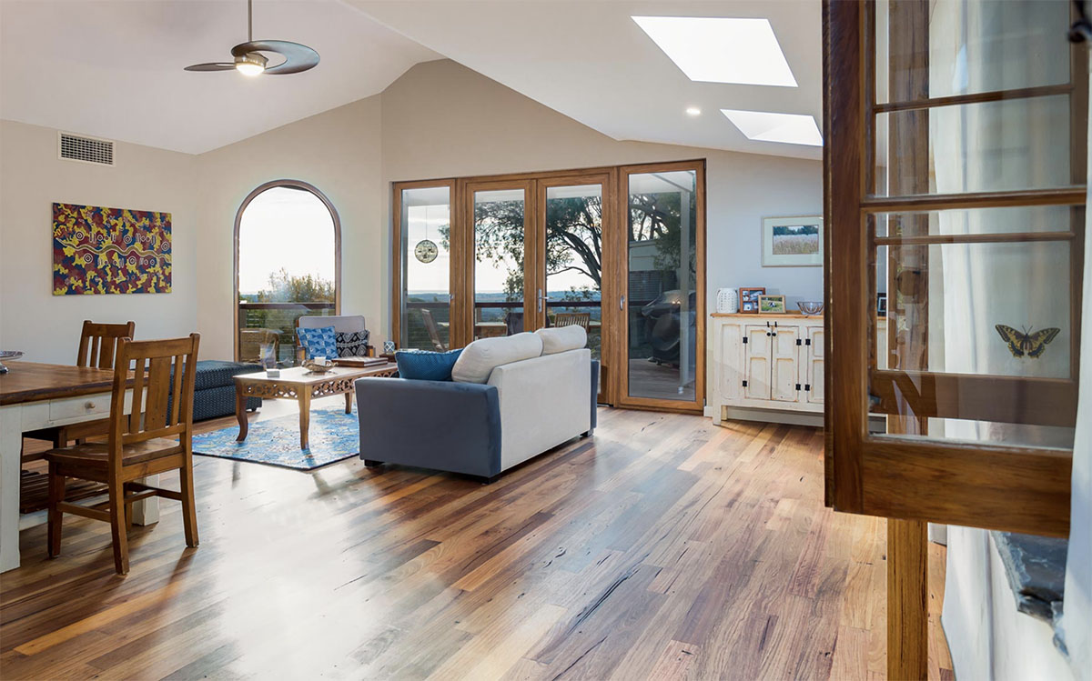 Extension, Renovation, Restoration, Design, Builders, Willunga, Fleurieu, Wooden Floor, Open Living Area, Inside Windows