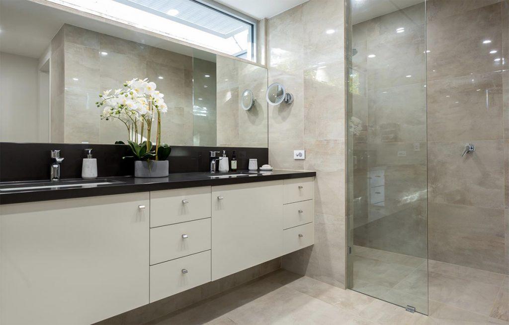 Custom Home, New Home, Family Home, Design, Builder, Single Storey, Blackwood, Adelaide Hills, Bathroom, double basin, modern shower