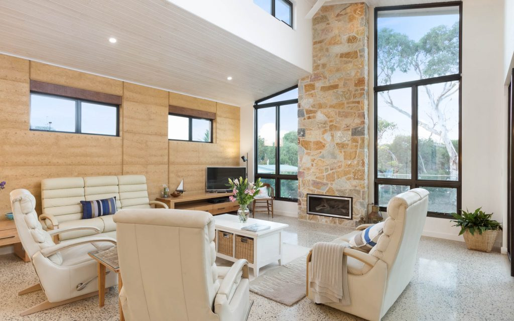 New Home, Custom Home, Family Home, Design, Builders, Award Winning, Single Storey, Goolwa, Fleurieu, Living Room, Fireplace, Wood Fire