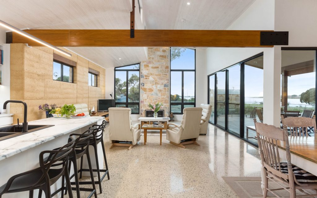 New Home, Custom Home, Family Home, Design, Builders, Award Winning, Single Storey, Goolwa, Fleurieu, Living Area, Large Windows