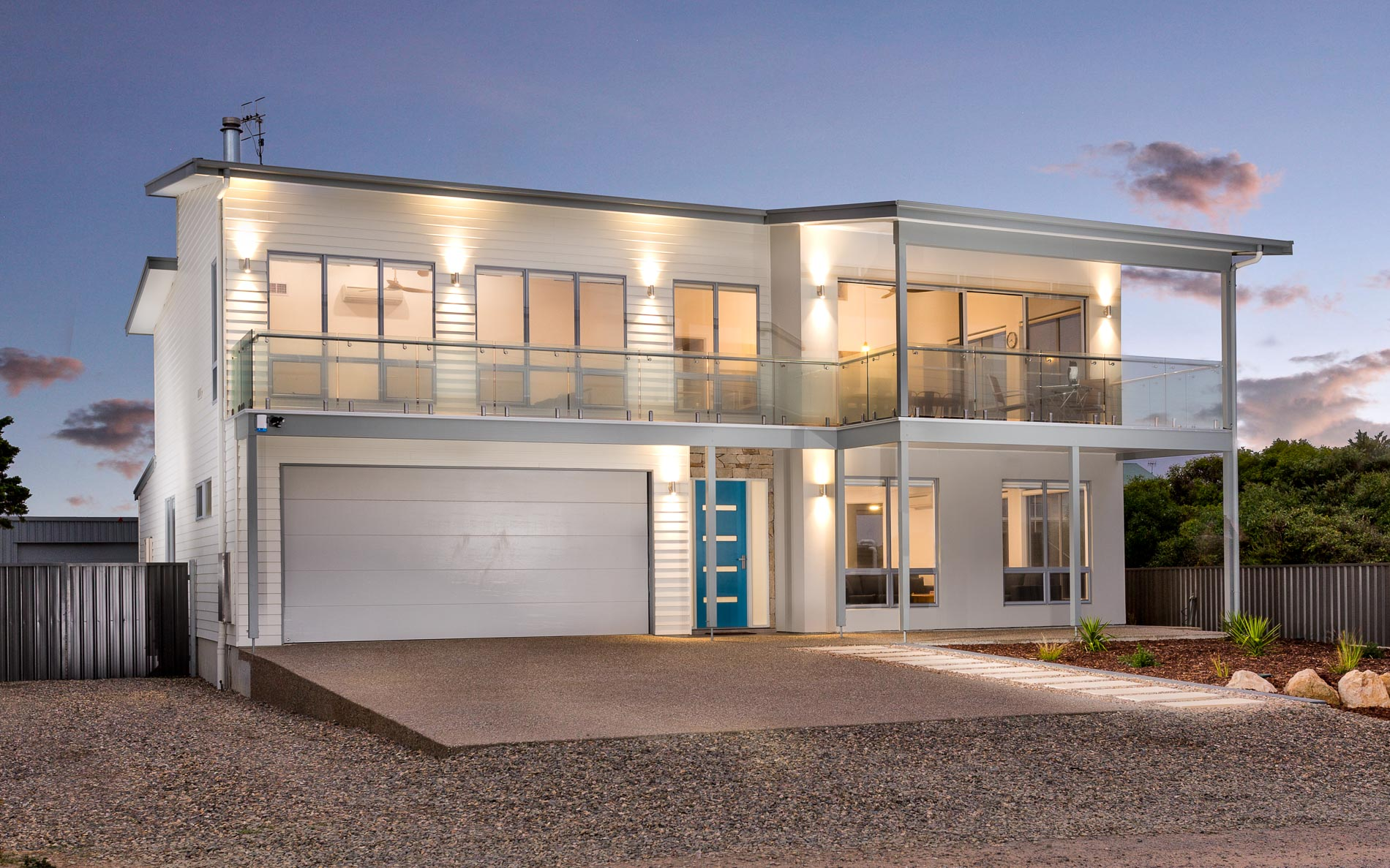 Award Winning, Custom Home, New Home, Two Storey, Builders, Design, Middleton SA, Fleurieu, Feature Door, Front View, Balcony, Balustrades