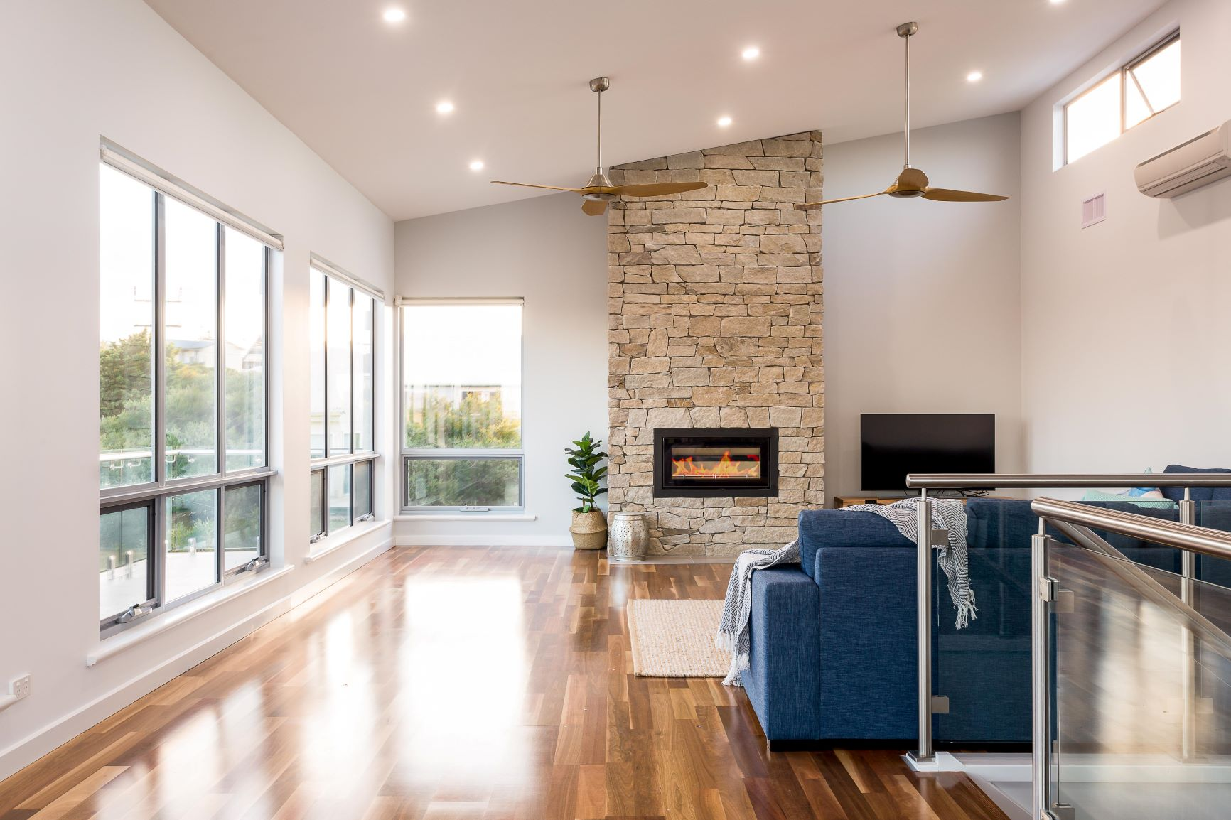 Award Winning, Custom Home, New Home, Two Storey, Builders, Design, Middleton SA, Fleurieu, Feature Wall, Fireplace, Laminated Flooring