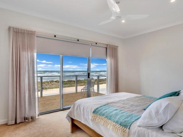 Award Winning, Custom Home, New Home, Two Storey, Builders, Design, Middleton SA, Fleurieu, Luxury Bedroom, Sliding Door, Balcony, Balustrade, Large Windows