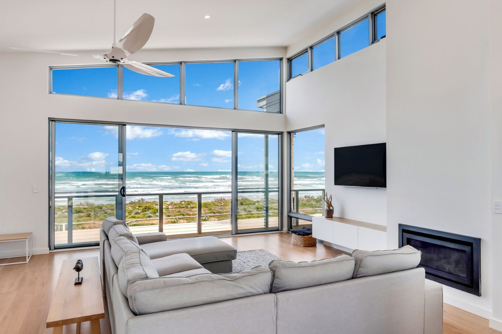 Award Winning, Custom Home, New Home, Two Storey, Builders, Design, Middleton SA, Fleurieu, Large Windows, Ocean View, Living Area, Fireplace