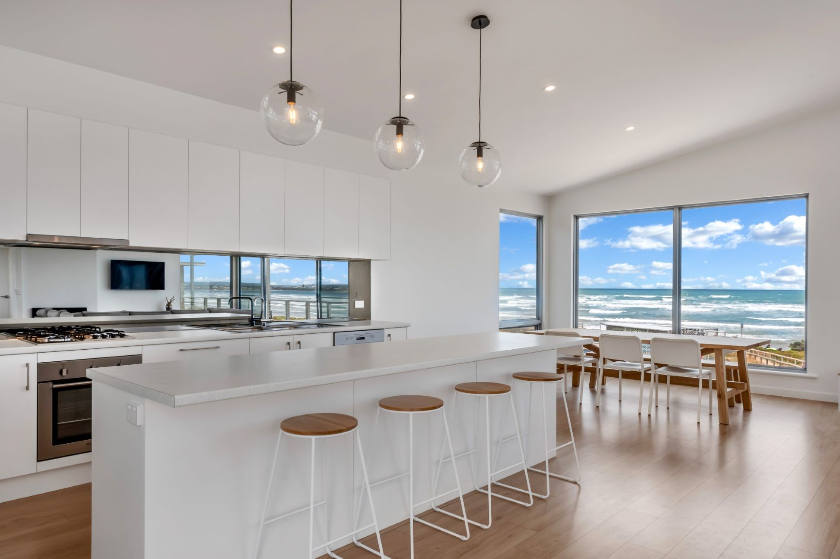 Award Winning, Custom Home, New Home, Two Storey, Builders, Design, Middleton SA, Fleurieu, Large Windows, Kitchen, Gas Stove Top, Splashback, Ocean View
