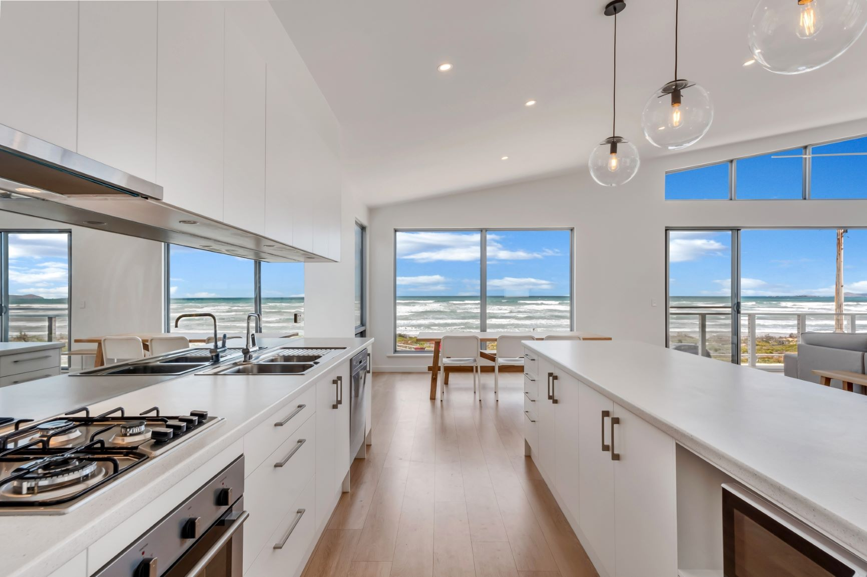 Award Winning, Custom Home, New Home, Two Storey, Builders, Design, Middleton SA, Fleurieu, Large Windows, Gas Stove Top, Modern Kitchen, Counter Tops, Ocean View