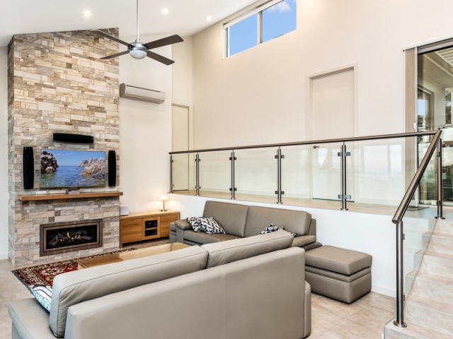 Custom Home, New Home, Single Storey Home, Builders, Design, Victor Harbor, Fleurieu, Living Area, Feature Wall, Fireplace, Balustrades