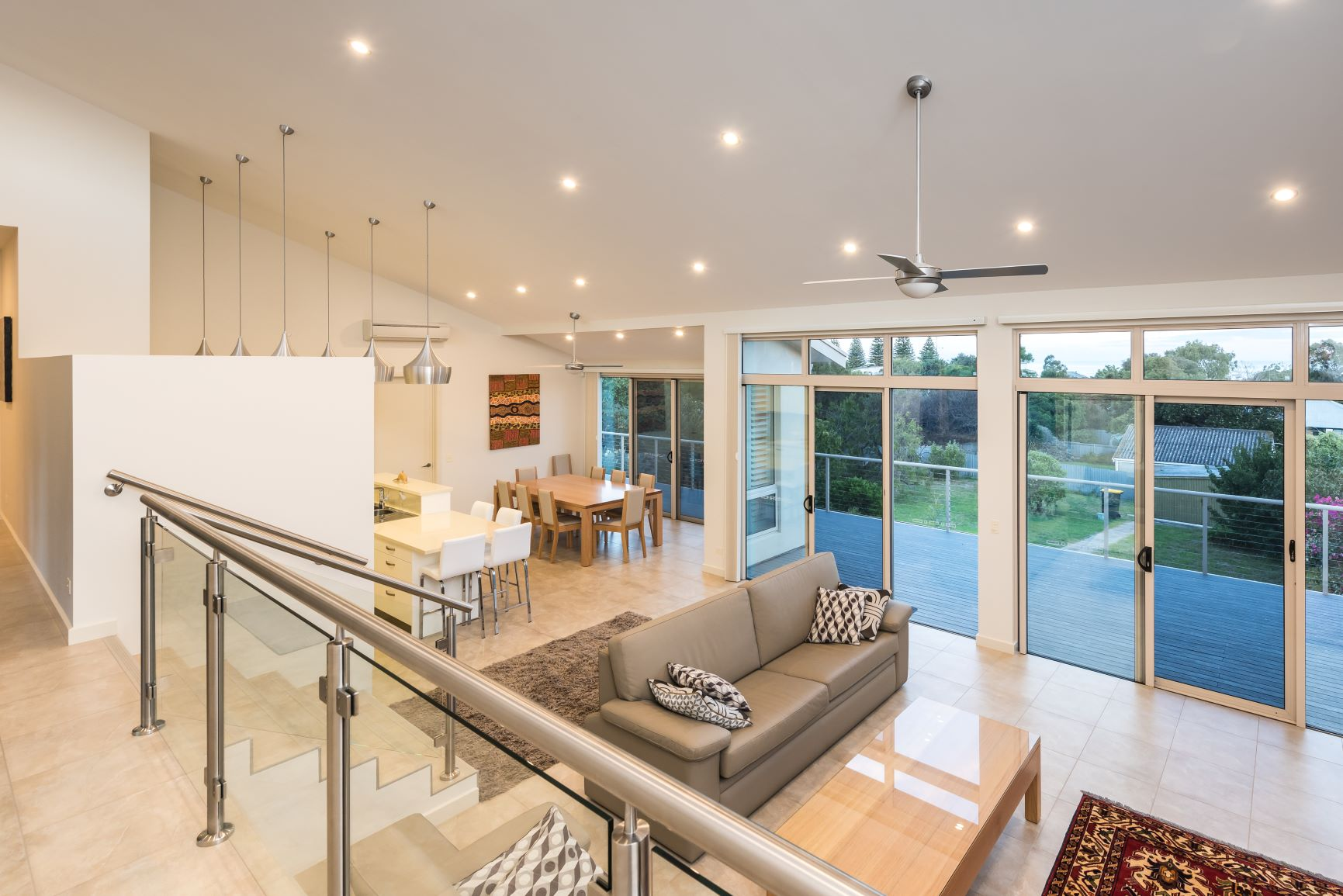 Custom Home, New Home, Single Storey Home, Builders, Design, Victor Harbor, Fleurieu, Open Plan Living, Large Windows, Feature Lights