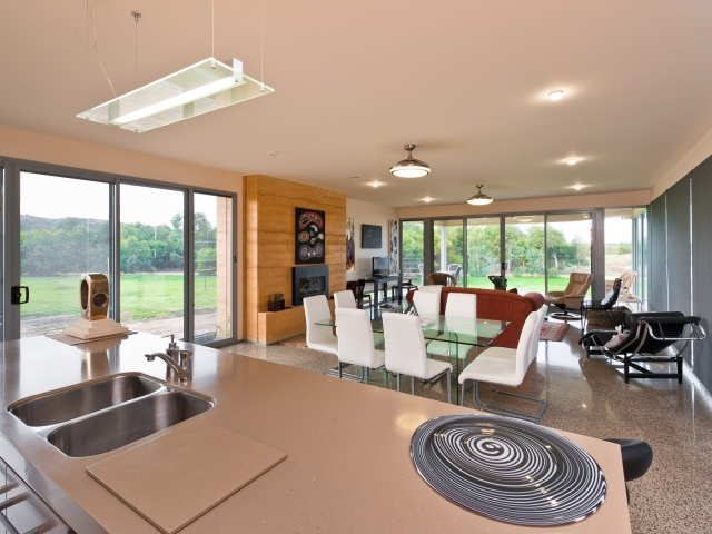 Custom Home, New Home, Family Home, Builders, Design, Beyond, Chiton, Fleurieu, Energy Efficient, Single Storey, Open Plan Living Area, Large Windows, Custom Blinds