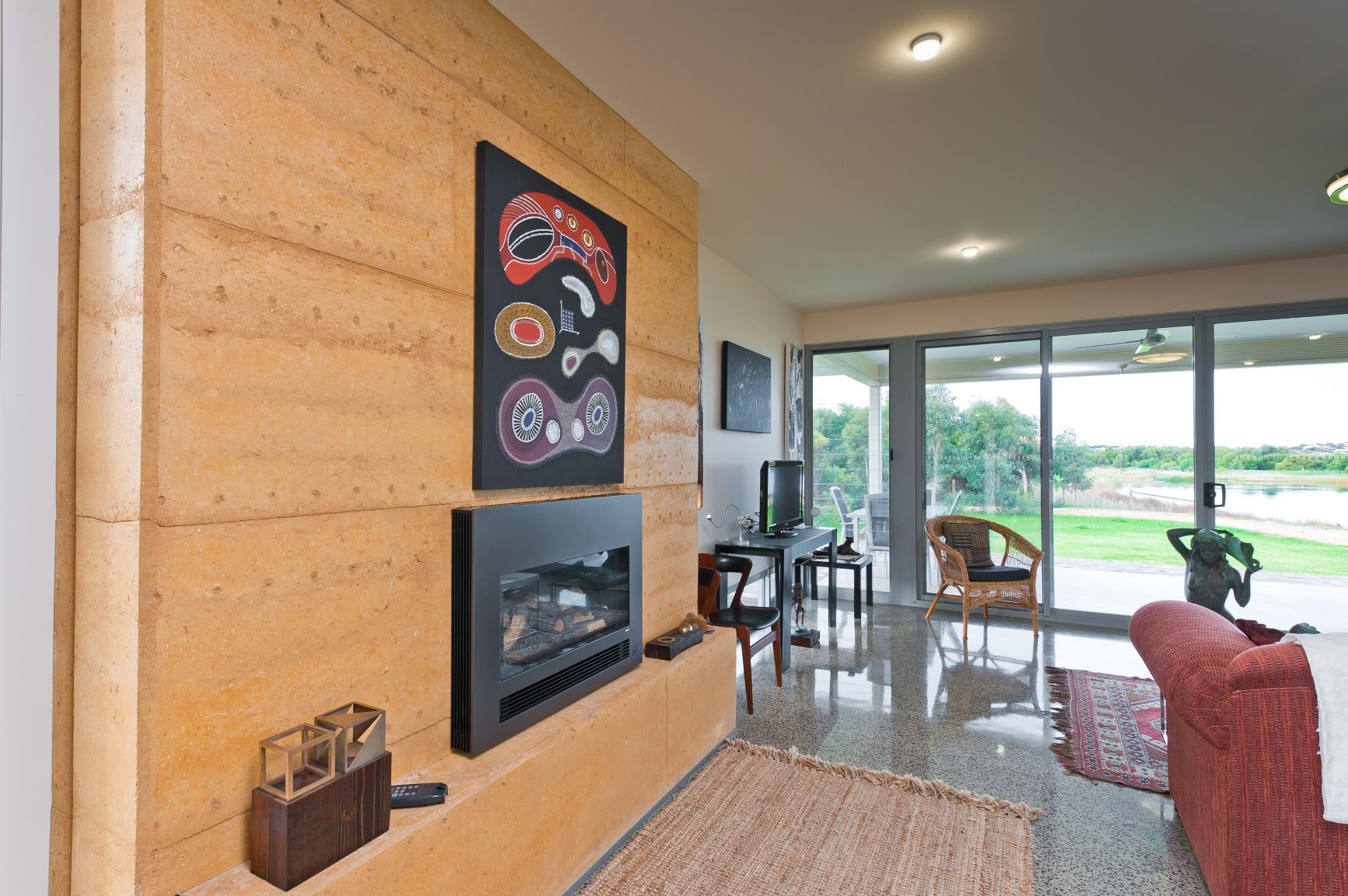Custom Home, New Home, Family Home, Builders, Design, Beyond, Chiton, Fleurieu, Energy Efficient, Single Storey, Feature Wall, Fireplace, Large Windows, Sliding Doors